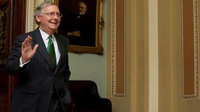 (AP Photo/Manuel Balce Ceneta). Senate Majority Leader Mitch McConnell, R-Ky., leaves the Senate floor on Capitol Hill in Washington, Monday, Feb. 23, 2015, following a cloture vote.