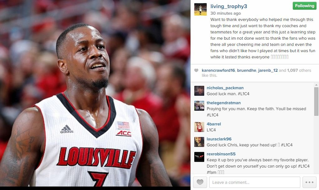 Chris Jones posted this message on Instagram Tuesday.