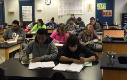 Amanda Downey's freshmen science class at Fairdale High School (Photo by Toni Konz)
