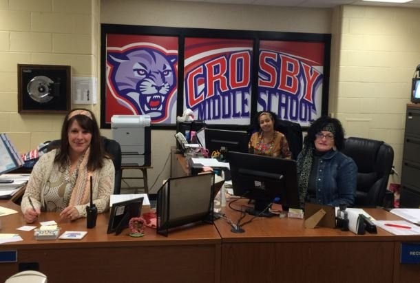 Office staff at Crosby Middle celebrate the school's 40th anniversary in November 2014. (Photo by Toni Konz)