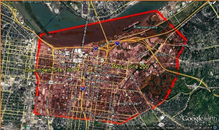 Map showing location of two hypothetical downtown groceries from 2014 study by Keith Wicks for Downtown Partnership