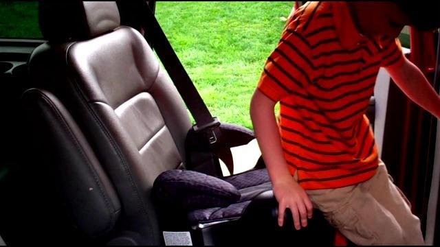 "Kentucky law says kids have to ride in a booster seat until their seven-years-old and 4'2""."