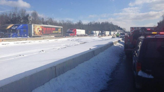 A file photo of stranded drivers on Interstate 65 near the 71 milemarker March 5, 2015. (Photo by Travis Ragsdale, WDRB)