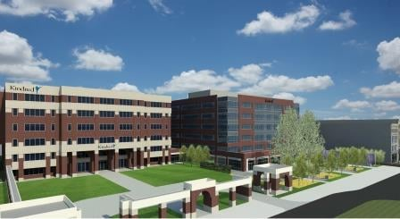 A rendering shows the new building, right, to complement Kindred's current headquarters building, left