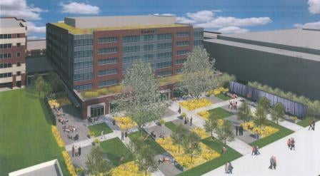 Rendering of new Kindred building and public plaza