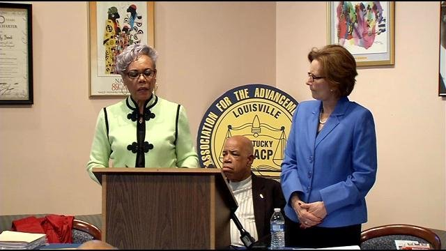 NAACP education director Kathryn Wallace speaks alongside JCPS Superintendent Donna Hargens at a meeting Wednesday, March 11.