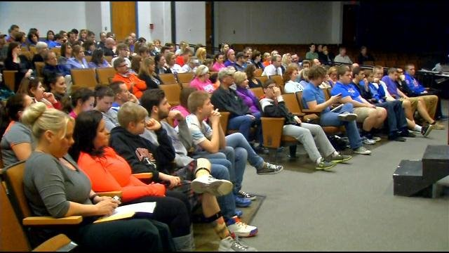 Enough people showed up that the meeting had to be moved to the auditorium.