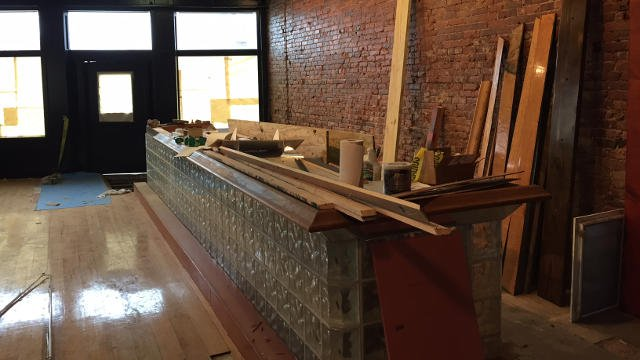 The future tasting room at the distillery.