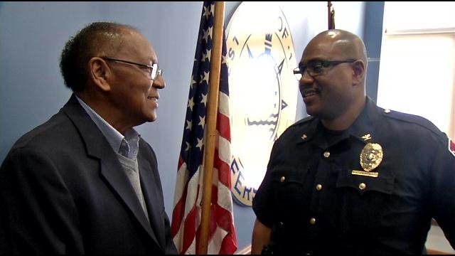 New Jeffersonville Police Chief Kenny Kavanaugh (right) and his father Les Kavanaugh (left).