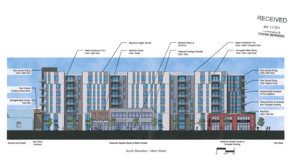 Rendering of apartments at Main and Clay streets