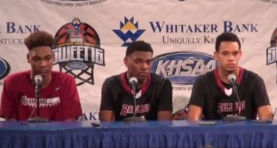 Ballard High players participate in the press conference after they defeated Johnson Central 82-69