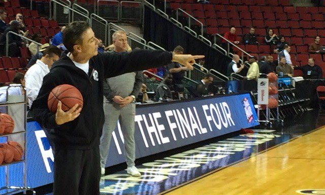 Rick Pitino makes a point during the team's public shootaround in Seattle on Thursday. WDRB photo by Eric Crawford.