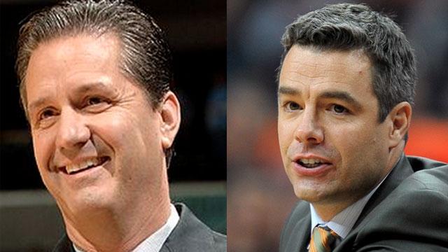Kentucky coach John Calipari (left) lost one major coach of the year award to Tony Bennett of Virginia.