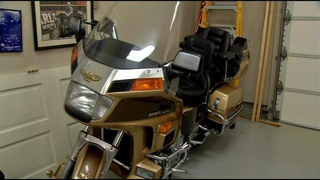 A limited edition Honda motorcycle sits in Swope's garage.
