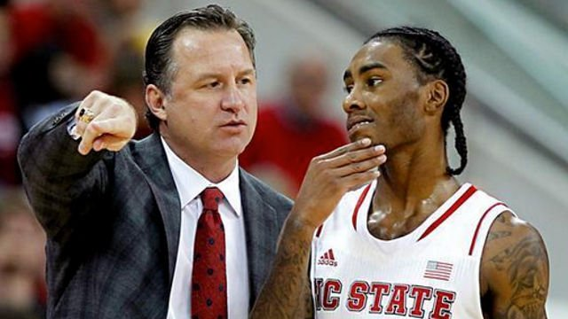 NC State coach Mark Gottfried and guard Cat Barber.