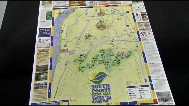 A map shows the scenic points in southwest Louisville,.