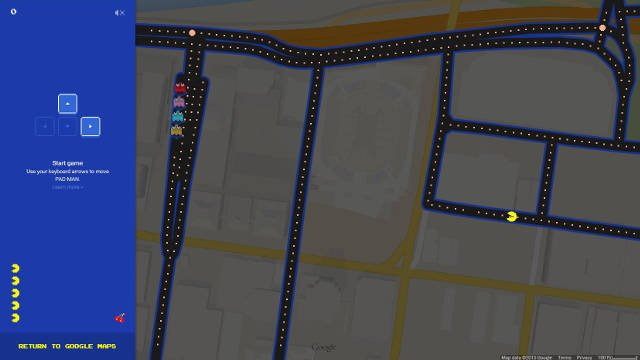 Pac-Man takes on the Yum! Center (Screenshot from Google Maps).