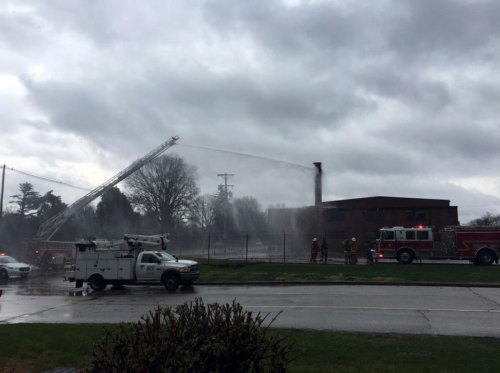 The building -- a gymnasium belonging to the U.S. Army Reserves -- was empty at the time of the fire.