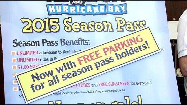 The Kentucky State Fair Board is granting free parking rights to season pass holders to Kentucky Kingdom and Hurricane Bay.