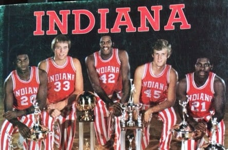 The 1976 unbeaten Indiana champs (from left), Bobby Wilkerson, Tom Abernethy, Scott May, Jim Crews and Quinn Buckner, have waited for the next member of The Club.