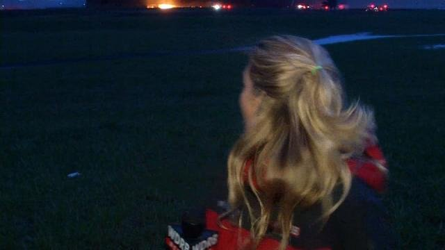 WDRB anchor and reporter Kara Kirtley got a brief scare from the fire at GE Appliance Park as she was preparing for a live report Friday morning.