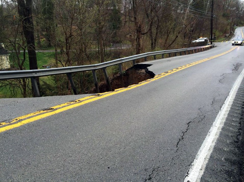 A view of the damage on KY-22 at Goose Creek. (Photo by: Kentucky Transportation Cabinet - District 5)