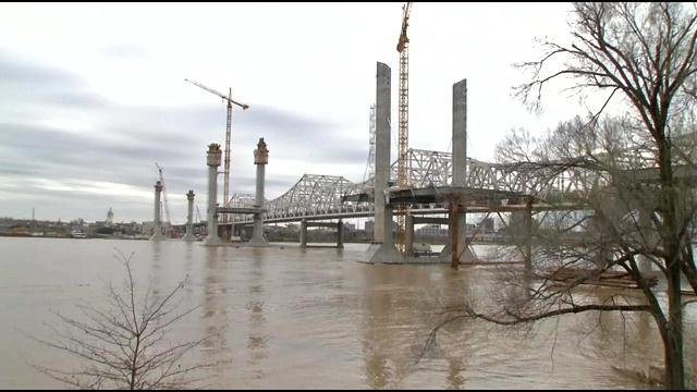 """""""The most dramatic elements are to come. As these towers start topping out, these cables start going in, and you'll start seeing the bridge really take shape,"""" said Andy Barber, project manager for the Kentucky Transportation Cabinet."""