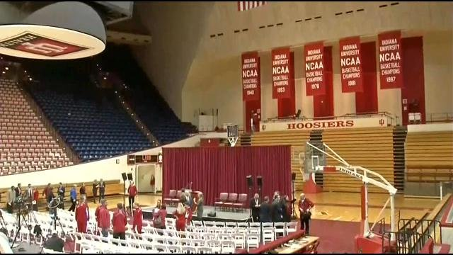 School officials prepare for a press conference in Assembly Hall on Tuesday, April 7, to break ground on renovations to the 43-year-old basketball facility.