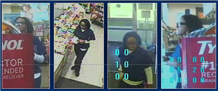 Police released these surveillance images of a woman they say used a fraudulent debit card.