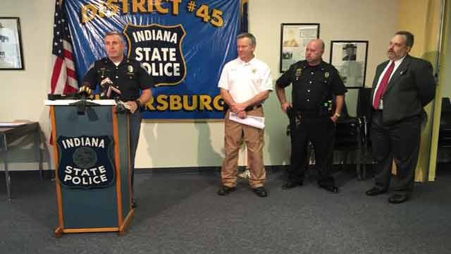 Scott County Sheriff Dan McLain, prosecutor Jason Mount, and Austin Police Chief Don Spicer joined Indiana State Police for a news briefing on April 17.