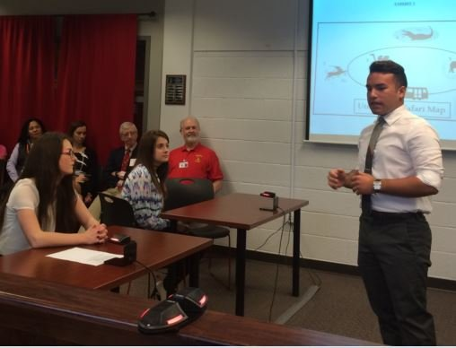 Andy Leyva, a junior at Seneca, participates in a mock trial on Friday (Photo by Toni Konz, WDRB)