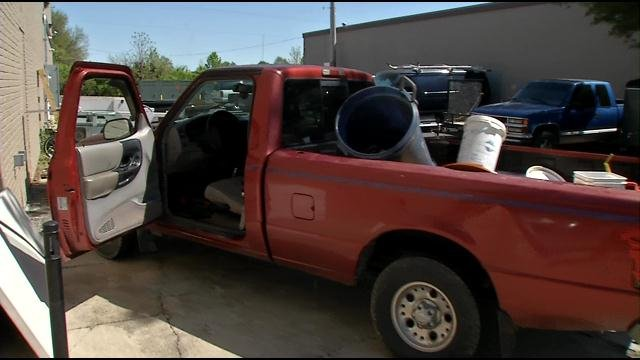 Police quickly worked to track down his red truck, seen on video for the first time today.
