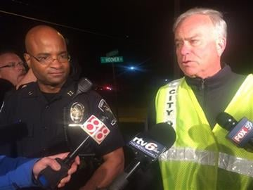 (AP Photo/Lauryn Schroeder). Capt. Charles Hollowell, left, of the Westfield Police Department said Thursday night April 24, 2015 that authorities don't have an exact number of injuries but are certain more than 12 were hurt.