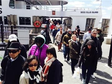 (AP Photo/Mary Altaffer). Visitors exit a ferry after New York City police respond to reports of a suspicious package at the Statue of Liberty on Friday, April 24, 2015 in New York.