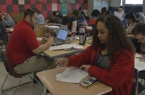 Students take a math test at Waggener High School (Photo by Toni Konz, WDRB News)