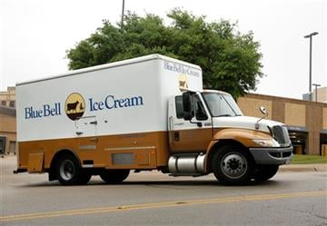 (David Woo/The Dallas Morning News via AP). A Blue Bell Ice Cream truck stops at Walgreens in Dallas on Thursday morning, April 23, 2015.