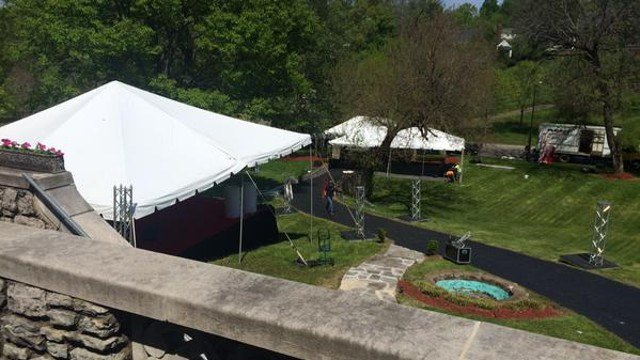 Actors, musicians and star athletes convene at the Louisville home of Patricia Barnstable Brown, where the party is held.