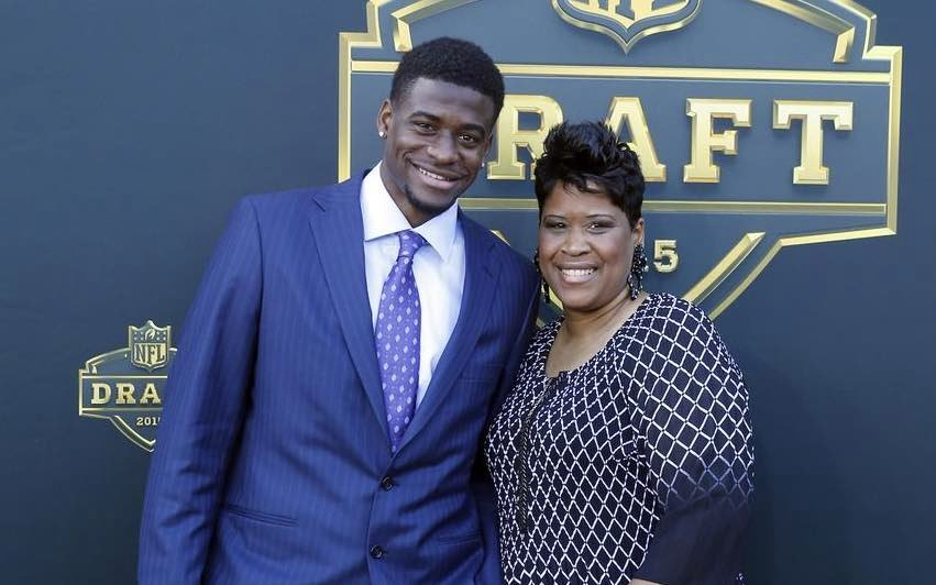 DeVante Parker and his mother, Raneca Parker, before Thursday night's NFL Draft in Chicago. AP photo.