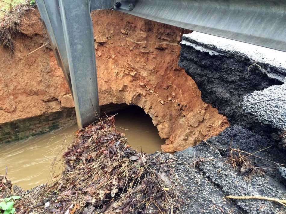 A view of the damage on KY-22 at Goose Creek. Taken on April 3. (Photo by: Kentucky Transportation Cabinet - District 5)