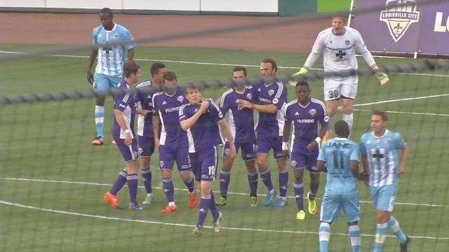 Magnus Rasmussen celebrates his 16th minute goal, his second on the season. This one against the Wilmington Hammerheads at Louisville Slugger Field May 12, 2016.