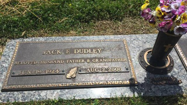 This grave marker sits on the spot where Jack Dudley was buried, but the cemetery found another person's body in the place where his wife was supposed to be laid to rest.