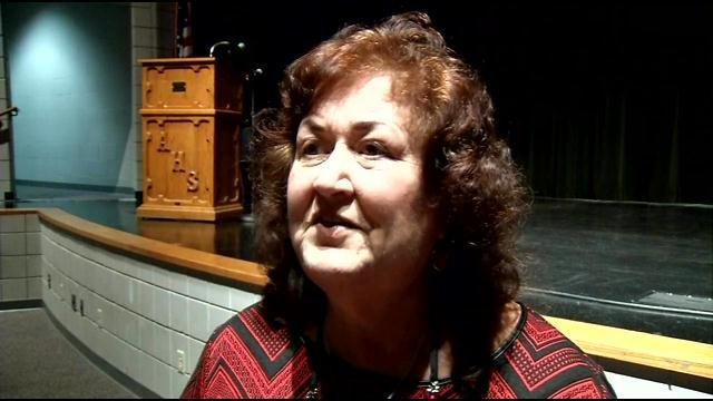 Jeanne White-Ginder spoke at Austin High School Tuesday night, May 12, 2015, about her son Ryan White