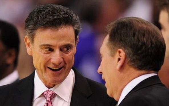 Rick Pitino (left) will coach against Tom Izzo for the fourth time since 2009.  (Detroit Free Press photo.)