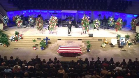 Funeral for fallen Hattiesburg police officer Benjamin Deen on May, 14, 2015 (Photo by Toni Konz, WDRB)
