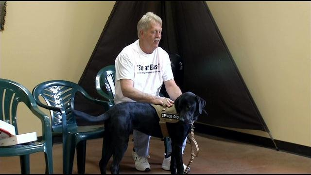 Vietnam veteran John Wells and the dog named Johnny Cash.