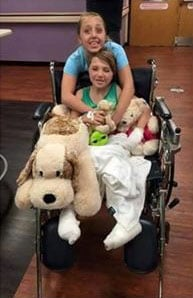 Ally Rednour recovering in the hospital.