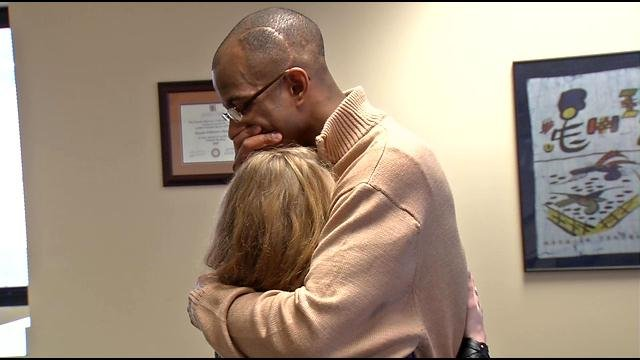 Deshaun and Kasey share an embrace at Kosair Children's Hospital six years after Deshaun helped Kasie through an all time low point in her life.