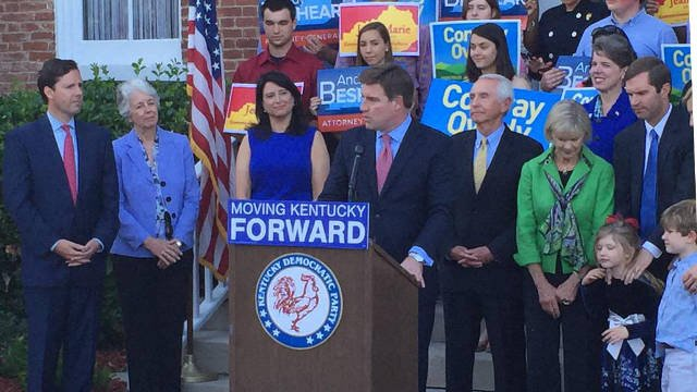 Jack Conway speaks about jobs, education and small business on May 19, 2015 ahead of receiving the Democratic nomination for governor.