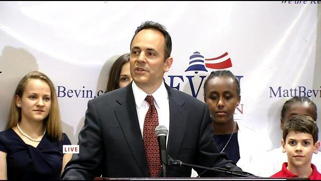 Matt Bevin declared victory in a speech to supporters Tuesday night, saying he looks forward to running against Jack Conway in the fall.