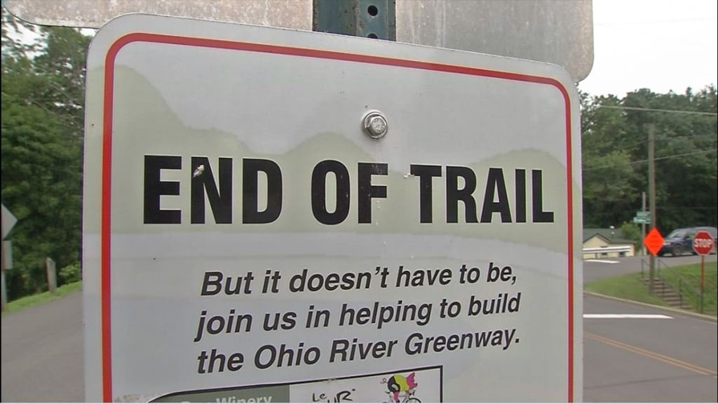 Sign at Bailey Avenue marks an incomplete section of the Ohio River Greenway